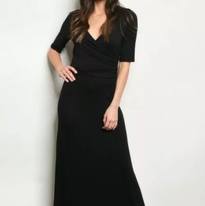 V-neck 3/4 sleeves full length maxi Dress Black